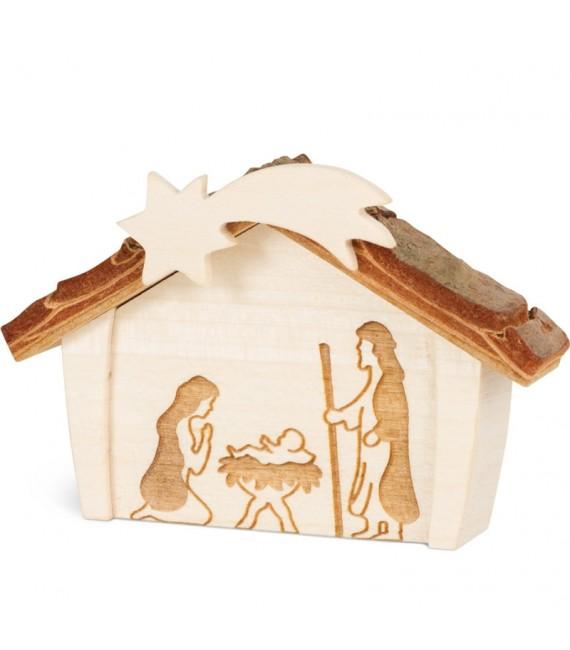 Crèche de Noël en écorce 12,5 cm, avec nativité en bois d'érable