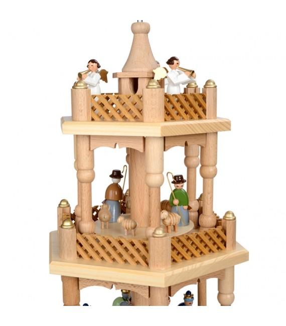Pyramide de Noël 2 étages avec personnages couleur