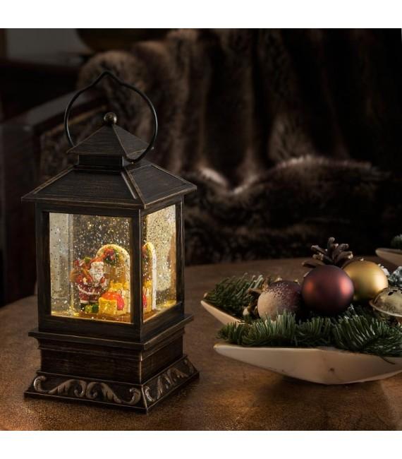 Lanterne à neige à LED avec Père Noël et enfants, 22 cm