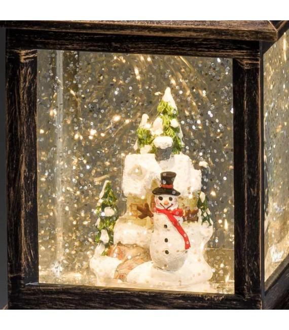 Lanterne à neige à LED avec bonhomme de neige, 22 cm