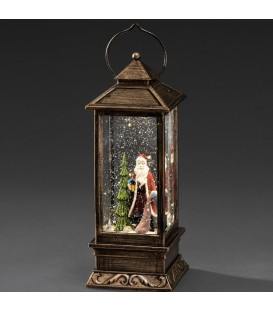 Lanterne de Noël à neige avec Père Noël, 27 cm