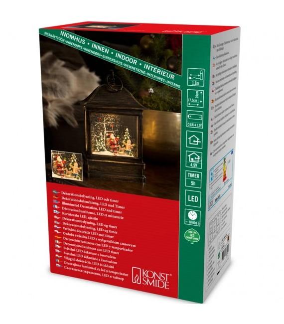 Lanterne à neige à LED avec Père Noël et enfant, 25 cm