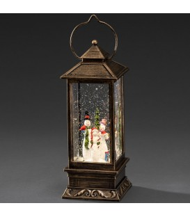 Lanterne à neige à LED avec bonhommes de neige, 27 cm