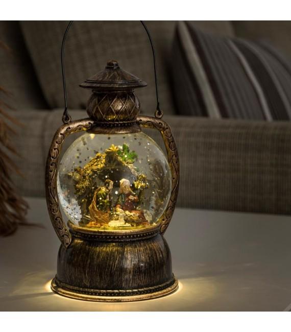 Lanterne à neige boule à LED Crèche de Noël, 20 cm