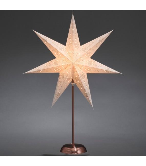 Étoile lumineuse électrique 7branches en papier, blanche, sur pied cuivré 48 cm
