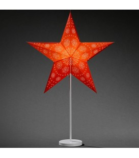 Étoile lumineuse électrique 5branches en papier, rouge, sur pied blanc, 46 cm