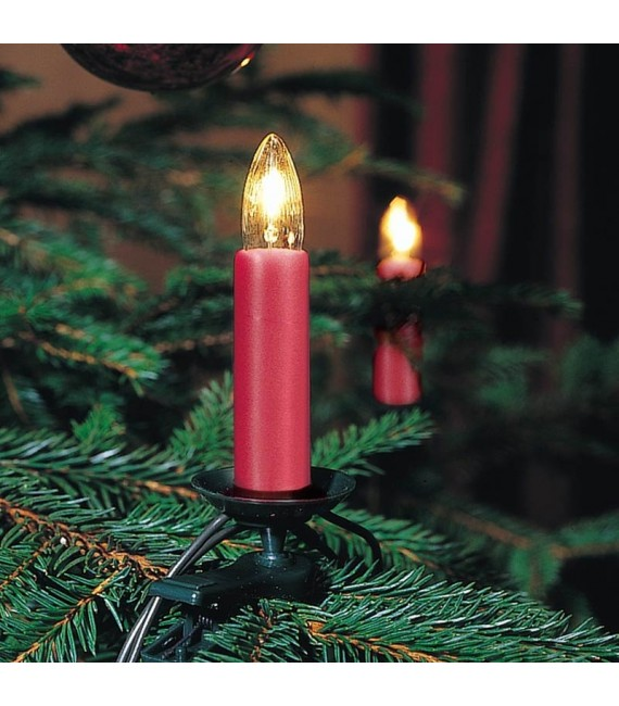 guirlande lectrique pour sapin de no l rouge one string 25 ampoules. Black Bedroom Furniture Sets. Home Design Ideas