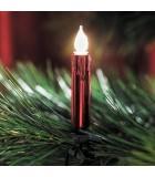Guirlande pour sapin, givrées avec aspect cire, rouge, 20 ampoules