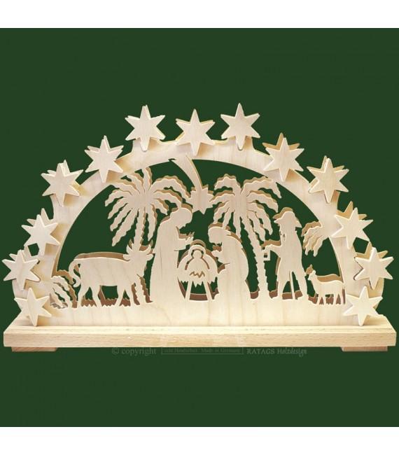 Arche lumineuse électrique LED en bois, crèche de Noël