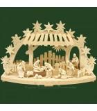 Arche lumineuse électrique LED, avec figurines de crèche de Noël en bois ciselé
