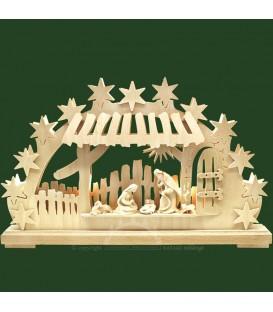 Arche lumineuse LED, personnages crèche de Noël en bois naturel ciselé