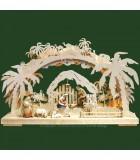 Arche lumineuse électrique LED, personnages crèche de Noël en bois ciselé peint
