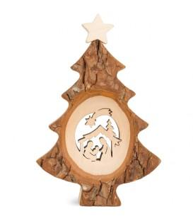Sapin de Noël en bois avec crèche ciselée, 12 cm