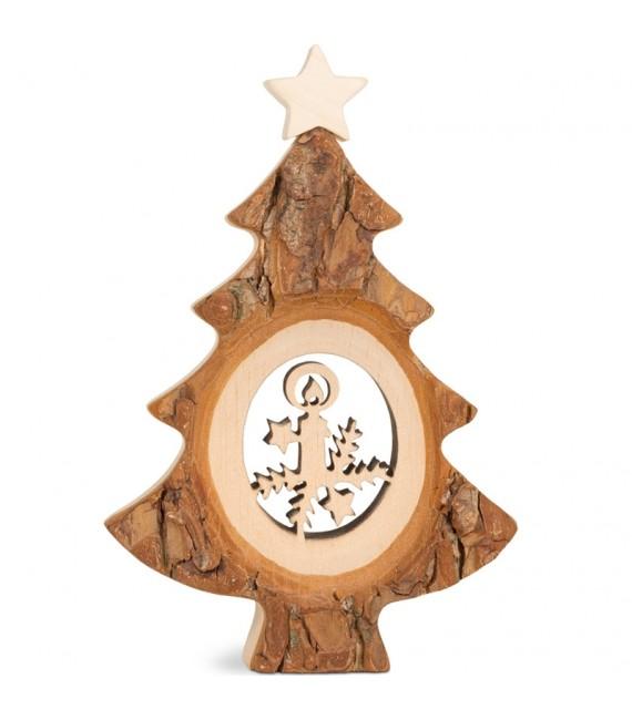 Sapin de Noël en bois avec bougie ciselée, 12 cm