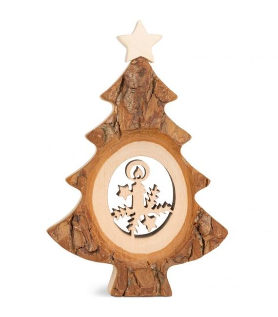Sapin de Noël en bois avec Père Noël et luge ciselé, 12 cm