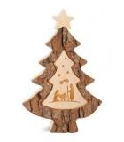 Sapin en bois avec gravure crèche de Noël, 15 cm