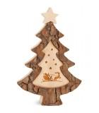 Sapin de Noël en bois avec gravure Père Noël et luge, 15 cm