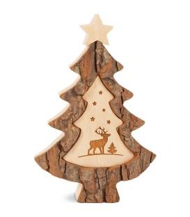 Sapin de Noël en bois avec gravure cerf, 15 cm