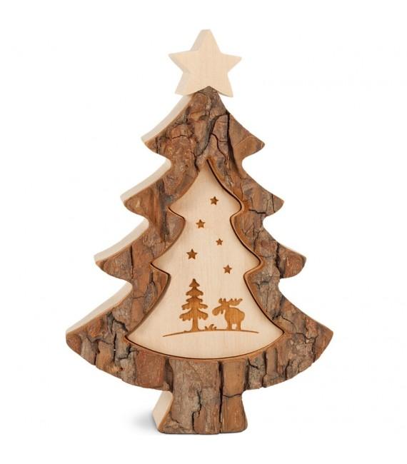 Sapin de Noël en bois avec gravure élan, 15 cm