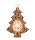 Sapin Noël en bois avec crèche de Noël ciselée, 18 cm