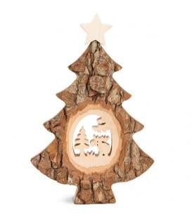 Sapin Noël en bois avec élan ciselé, 18 cm