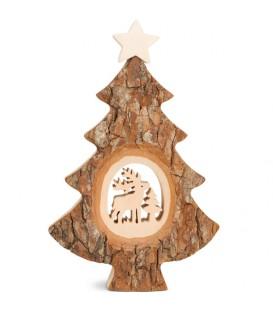 Sapin Noël en bois avec cerf ciselé, 18 cm