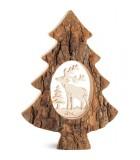Sapin en bois avec cerf ciselé, 18,5 cm