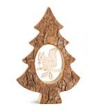 Sapin en bois avec écureuil ciselé, 18,5 cm
