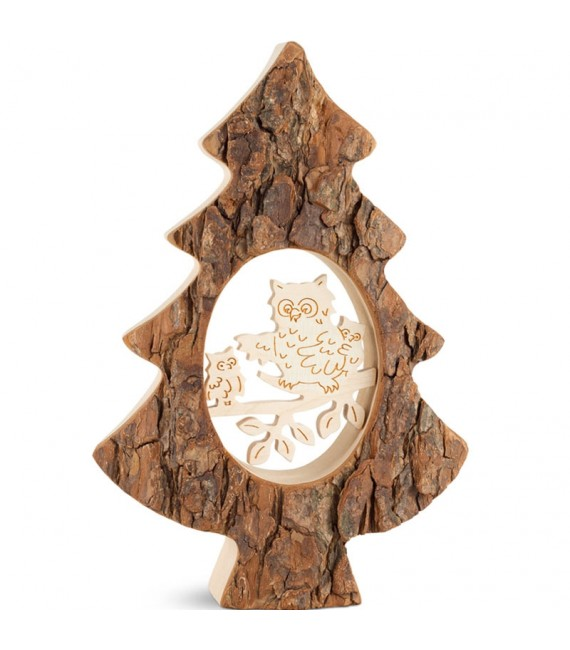 Sapin en bois avec chouette ciselée, 18,5 cm