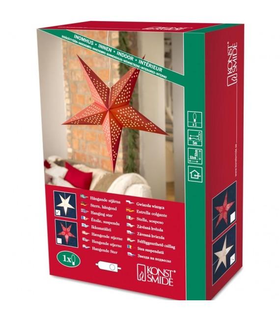 Étoile lumineuse électrique 5branches en papier, à suspendre, blanche, 52 cm