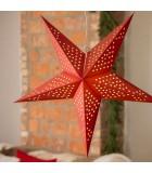 Étoile lumineuse électrique 5branches en papier, à suspendre, rouge, 52 cm