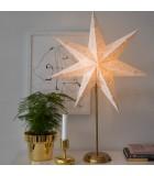 Étoile lumineuse électrique 7branches en papier, blanche, sur pied laiton, 48 cm