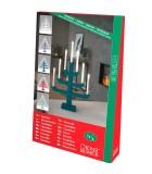 Chandelier suédois en bois, rouge laqué, 7 ampoules