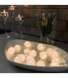 Guirlande lumineuse décorative à LED, boules de coton blanches, 16 diodes