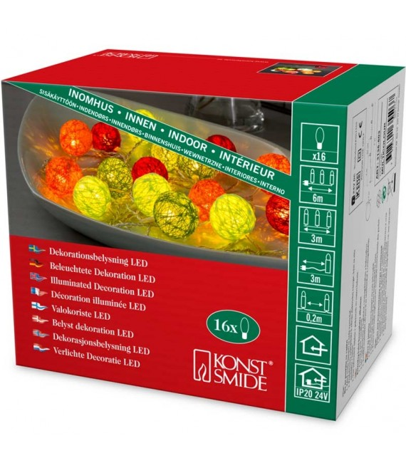 Guirlande lumineuse décorative à LED, boules de coton multicolores, 16 diodes