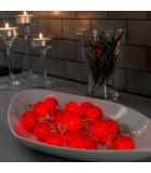 Guirlande lumineuse décorative à LED, boules de coton rouges, 16 diodes rouges