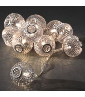 Guirlande lumineuse boules métal argentées, 10 diodes LED
