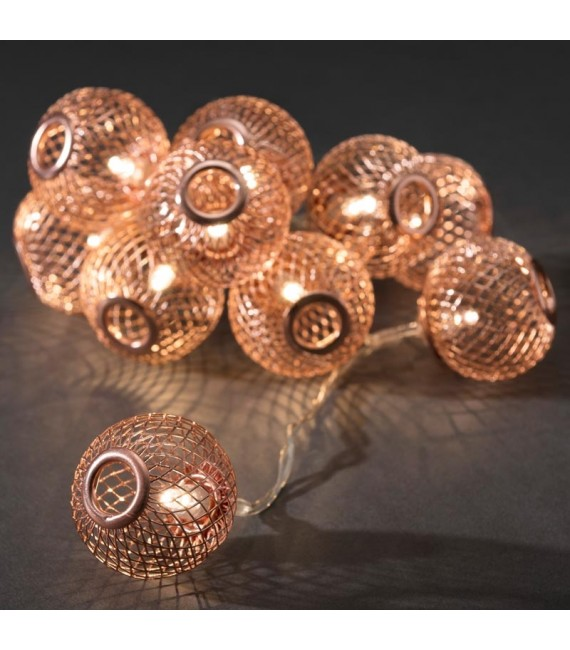 Guirlande lumineuse décorative à LED, boules en métal cuivrées, 10 diodes