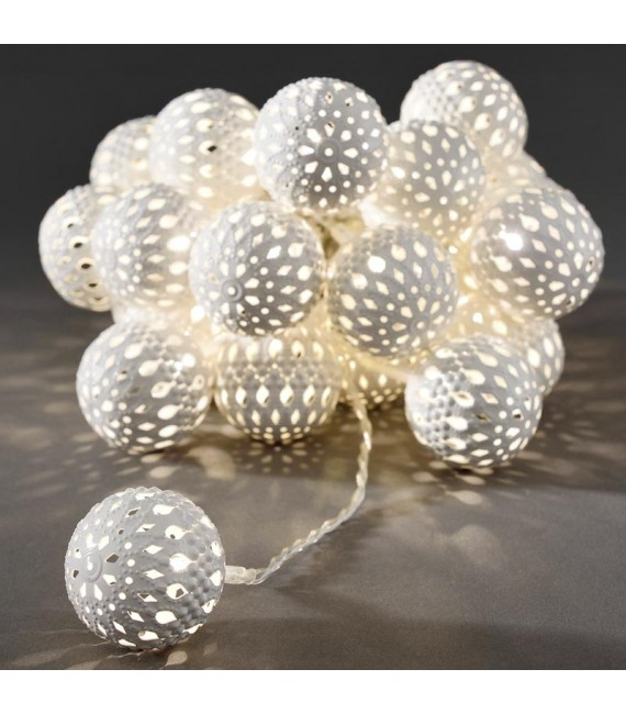 guirlande lumineuse boules blanches 24 diodes led. Black Bedroom Furniture Sets. Home Design Ideas