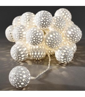 Guirlande lumineuse boules métal blanches, 24 diodes LED