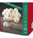 Guirlande lumineuse décorative à LED, boules en métal blanches, 24 diodes