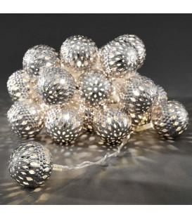 Guirlande lumineuse décorative à LED, balles en métal argentées, 24 diodes