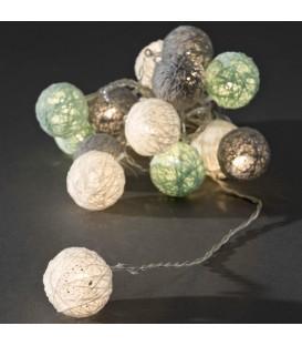Guirlande lumineuse boules coton blanches/grises/bleu clair, 16 diodes LED