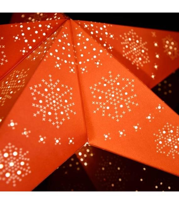 Étoile lumineuse électrique 5branches en papier, rouge, sur pied laiton, 46 cm