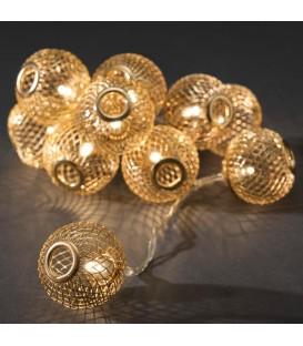 Guirlande lumineuse boules métal dorées, 10 diodes LED