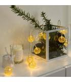 Guirlande lumineuse décorative à LED, boules en métal dorées, 10 diodes
