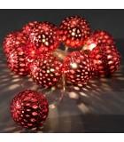 Guirlande lumineuse décorative à LED, grosses billes métalliques rouges,10_diodes blanc chaud,à piles, intérieur,câble transpare