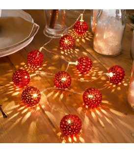 Guirlande lumineuse boules métal rouge, 10 diodes LED