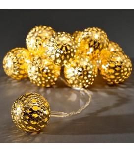 Guirlande lumineuse décorative LED à piles, billes métalliques dorées, 10 diodes