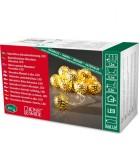 Guirlande lumineuse décorative à LED, grosses boules en métal dorées,10_diodes blanc chaud,à piles, intérieur,câble transparent